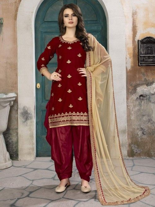 cbb07e8b4a Red Velvet Straight Cut Suit in 2019 | Suits | Salwar suits party ...