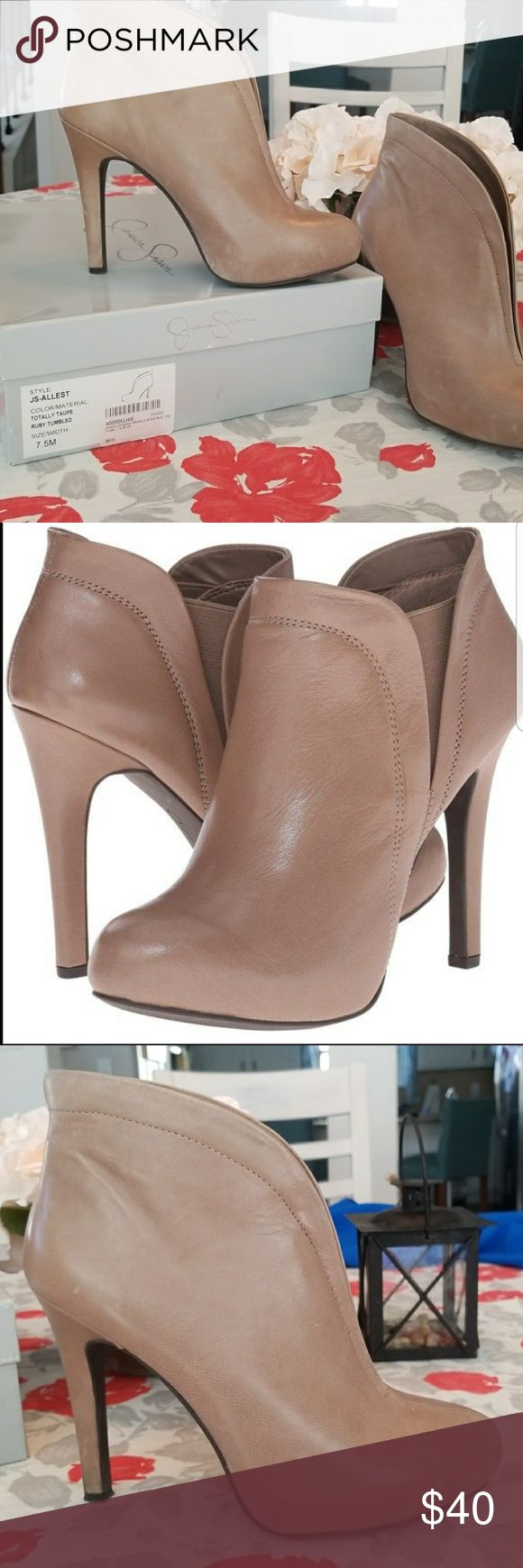 Jessica Simpson taupe Allest heeled ankle bootie Taupe Jessica Simpson heel ankle booties. Only worn once. Soft leather shows a little lightening marks towards the bottom. Comes with original box. Jessica Simpson Shoes Ankle Boots & Booties