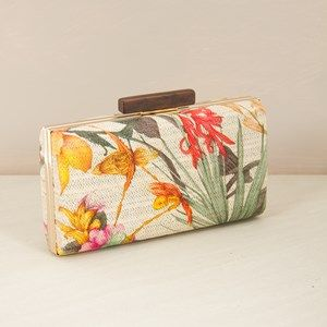 ADORNE Orchid Palm weave structured rectangle clutch $44.95