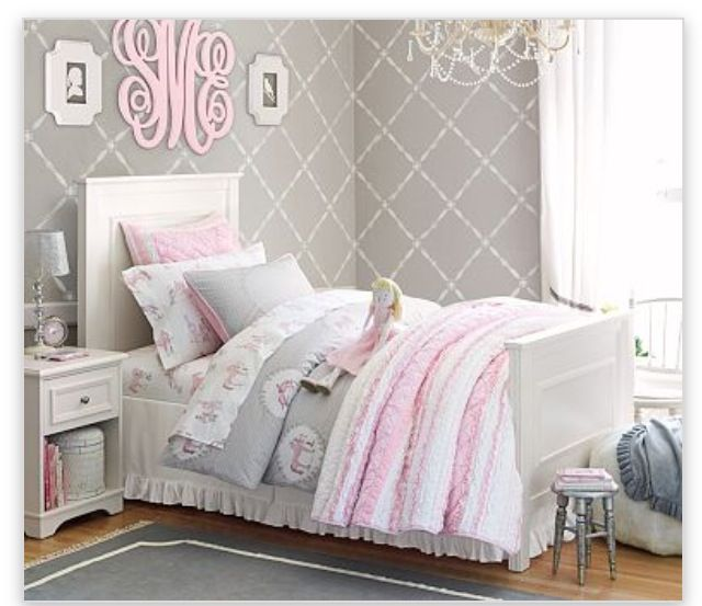 Pale Pink Gray And White Bedroom Set For My Little Girl