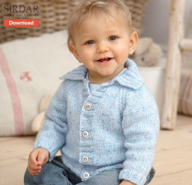 Cheeky chappy! FREE Sidar baby cardigan Knitting Pattern on the LoveKnitting blog.