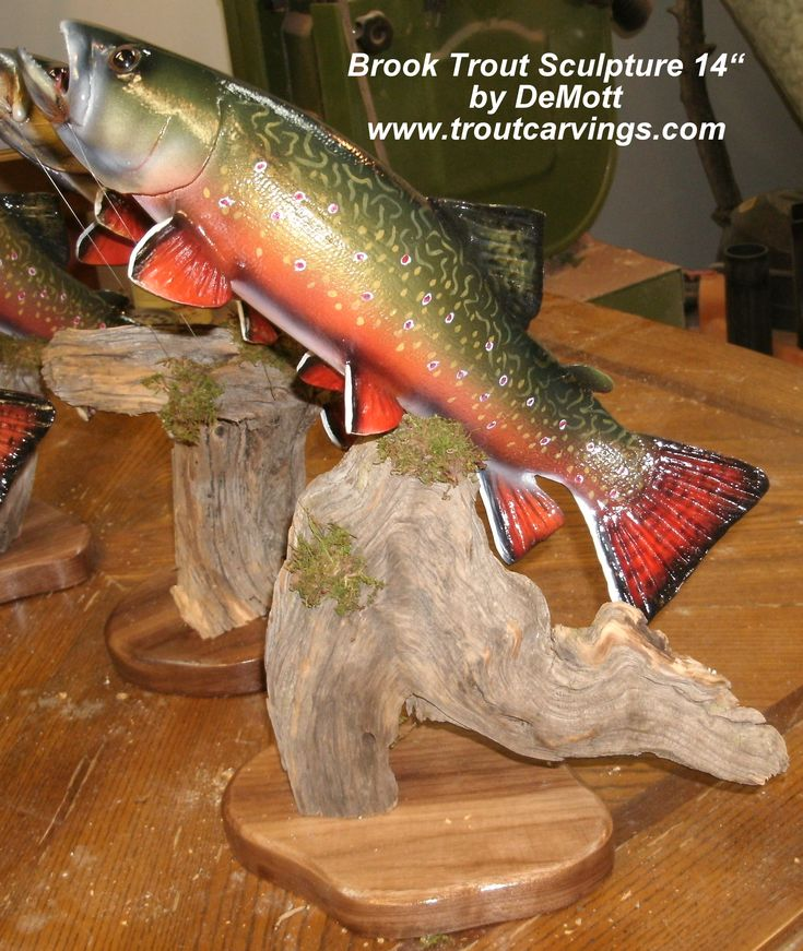 Trout sculptures and carvings by colorado award winning