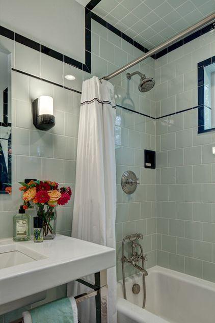 Craftsman Bathroom by Tracey Stephens Interior Design Inc; Wall paint: Silken Pine, Benjamin Moore; awning window: Pella; bathtub: Bellwether, Kohler, toilet paper holder, recessed soap niche: Eclectic-ware; wall tile: American Olean