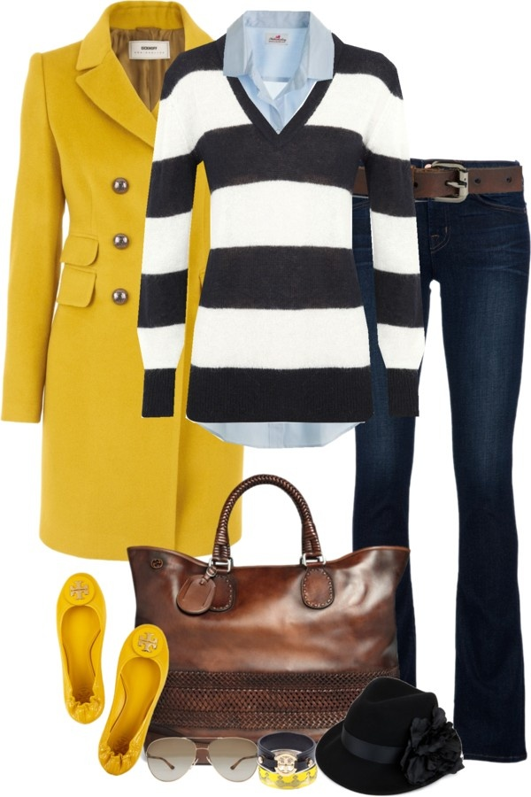 can't go wrong with black and white stripes and pops of mustard, not to mention those FABULOUS Tory Burch flats