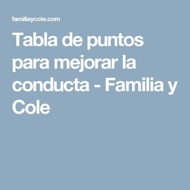 Tabla de puntos para mejorar la conducta - Familia y Cole