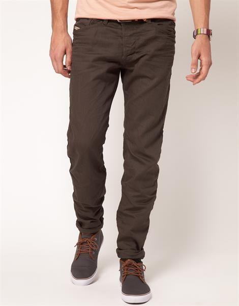 Модные коричневые джинсы