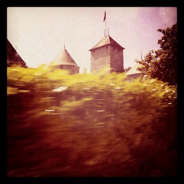 Castle on the fly. Lake Geneva- Montreux, Switzerland.