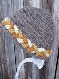 Needlebound / nalbound hat with braided edge, by Maria Åhren. Posted [in Swedish] on her site mariaahren.se. Please see original post to see more examples of her needlebound Viking age inspired hats, that she has for sale! (info says to contact her for prices)