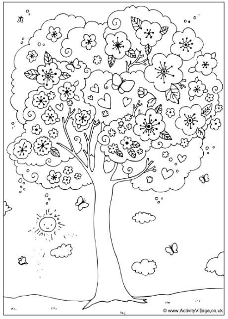 Such a happy tree! Blossom tree colouring page http://www.activityvillage.co.uk/blossom_tree_colouring_page.htm