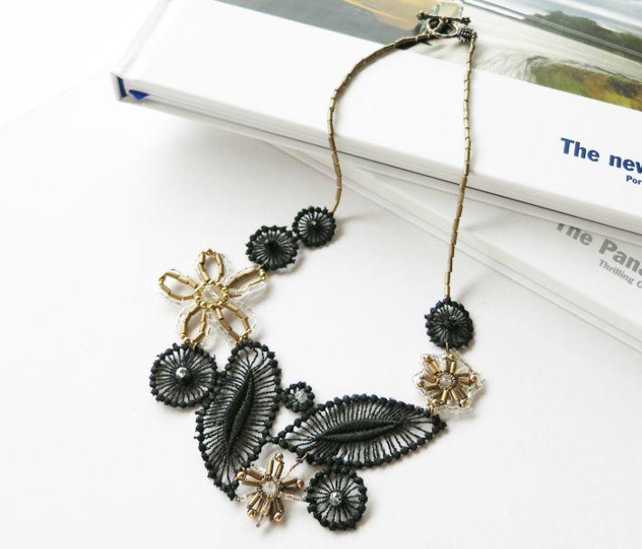 大人のためのアクセサリー Perles※メール便対応可能商品。ブラックレースネックレス大人の ネックレス ビーズネックレス