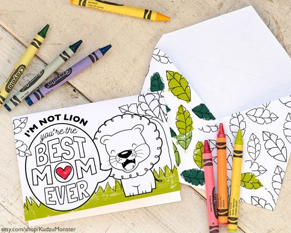 Kids Mothers Day Card Coloring Page Cute Lion With Foldable Envelope Great For Classroom