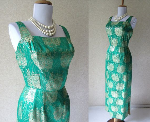 Vintage 1960s Gold Metallic Green Brocade Hourglass Hollywood Glamour Dress