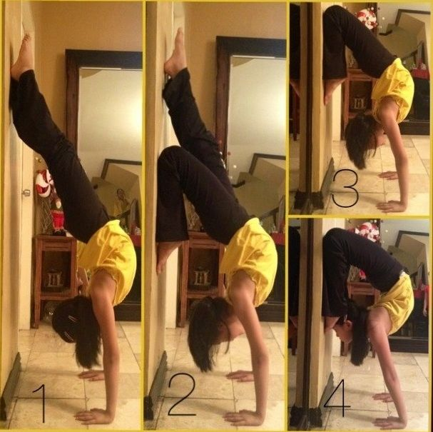 from handstand to double scorpion handstand, using the wall