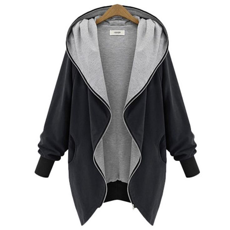European Fall Spring new women plus size clothing loose zipper with hood jacket long sleeve casual jackets outwear