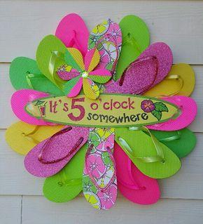 Handmade Adorable 5 O'Clock Somewhere Flip Flop Wreath Door Wall Decor PINK Margaritaville