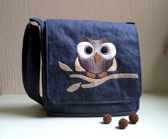 Denim Messenger Bag with Owl Applique