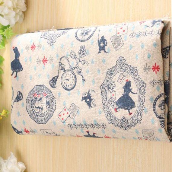Fabric Cotton Quilt Alice in Wonderland Patchwork by SuppliesDiy