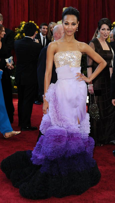 Zoe Saldana, 2010 The Avatar star wore a frothy Givenchy Couture gown and an elegant updo. The ombré purple train transfixed red-carpet-watchers.