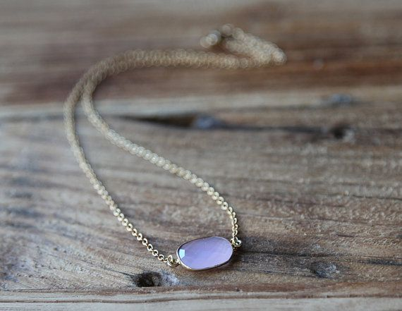 Rose quartz and gold filled chain drop necklace by Rosehip Jewelry
