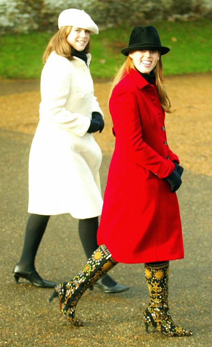 Princess Eugenie and Princess Beatrice, Christmas 2003.