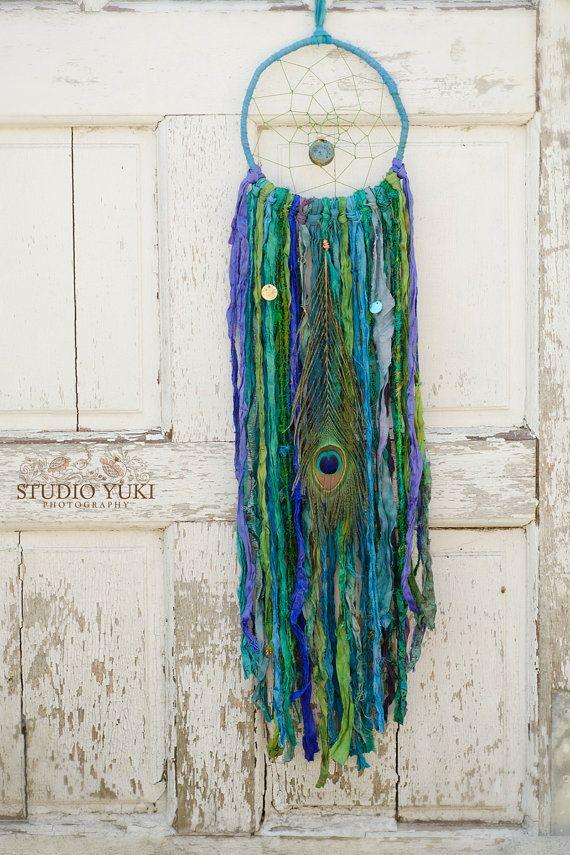 Bohemian Gypsy Dreamcatcher, Blue, Indigo, Cobalt, Green, Emerald, Fair Trade, Sari Silk, Wall Hanging, Boho Home Decor, Native, Ethnic Gift by Studio Yuki