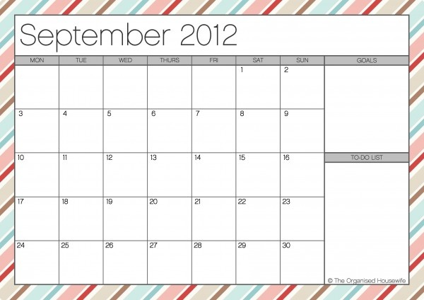 Printable monthly calendars.