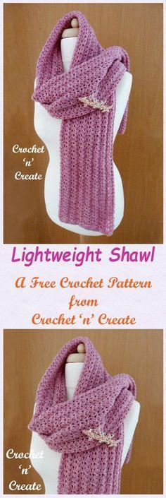 Free crochet pattern for lightweight shawl.