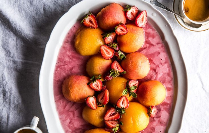 Poached frozen peaches eat like fruit-shaped sorbet and look like a three-dimensional sunset.