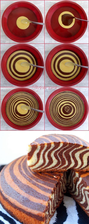 Gâteau tigré, zébré ou encore le zebra cake : http://perleensucre.com/gateau-tigre-zebre-ou-encore-le-zebra-cake/