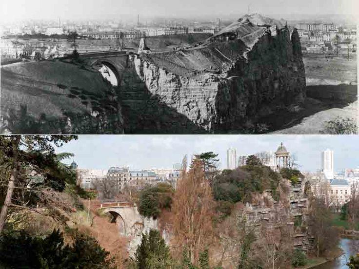Le parc des Buttes-Chaumont. Jusqu'à la Révolution, cette éminence à l'est de Paris  portait l'un des gibets de potence. Plutôt que de la supprimer, comme il le fit avec d'autres dénivellations, Haussmann préféra l'utiliser pour en faire un lieu d'agrément.