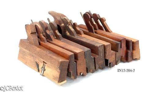 Wood Wooden Molding Plane Tool Lot Oh Handled Complex Ohio