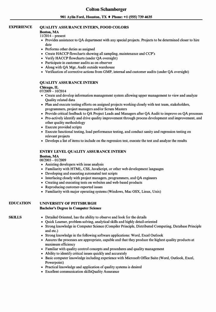 25 Entry Level Qa Resume in 2020 Good resume examples