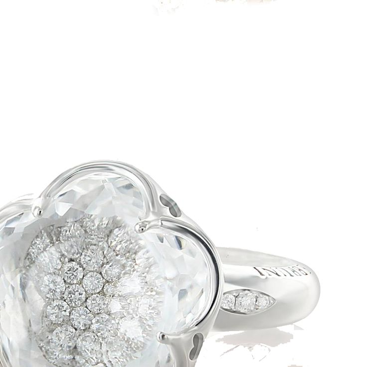 Pasquale Bruni Ring Bon Ton Flower white gold and diamond 15295R - Casa Capone Jewelry