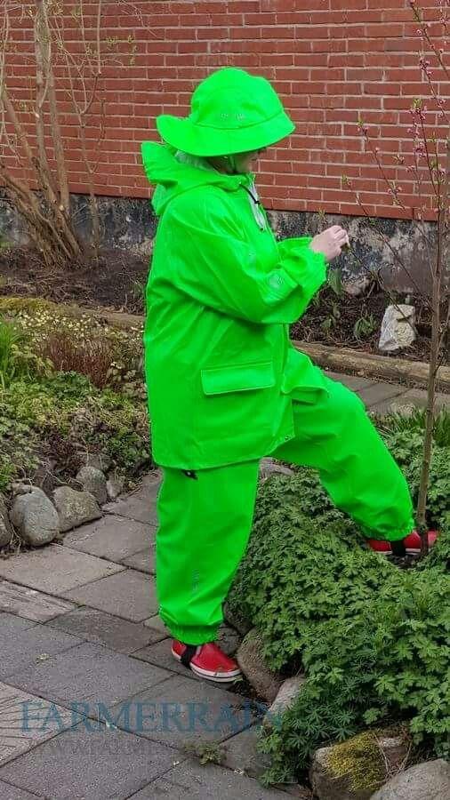 Lime green rainsuit