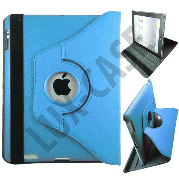 Rotational iPad 2 Leather Flip Case - Folding Stand (Light Blue)