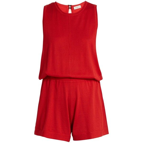 Le Kasha Mumbai sleeveless cashmere playsuit ($560) ❤ liked on Polyvore featuring jumpsuits, rompers, red, playsuit romper, sleeveless romper, red romper, loose fitting rompers and red rompers