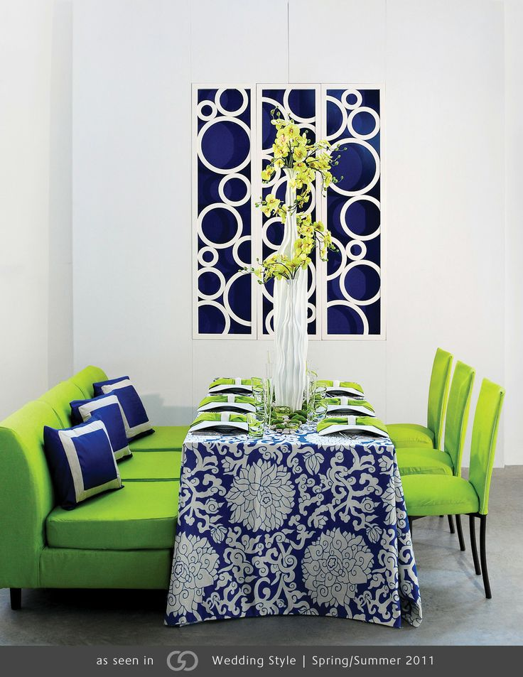 Royal blue and oatmeal patterned linen featuring tall for Table linen color combinations