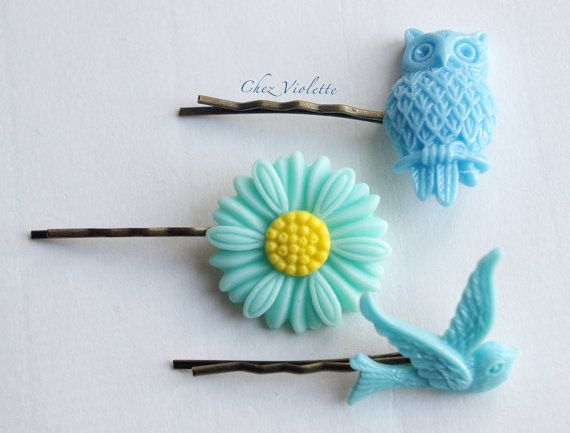 pastel blue hair pin Spring girls hair jewelry by chezviolette