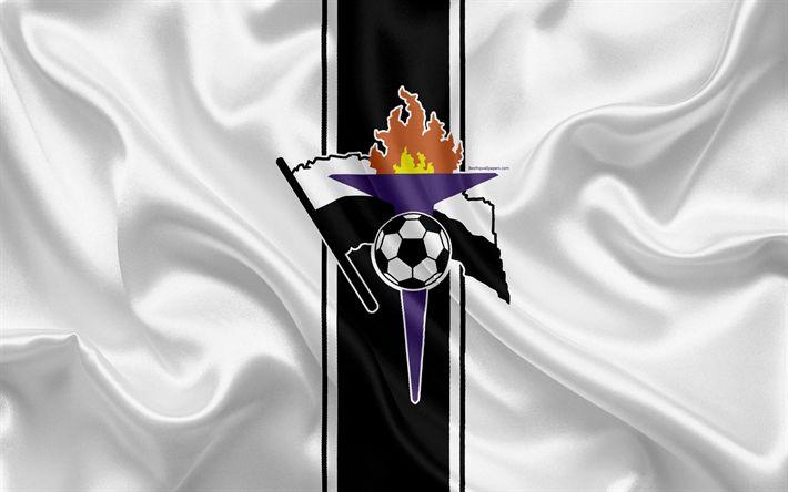 Download wallpapers FC Gaz Metan Medias, 4k, Romanian football club, logo, silk flag, Romanian Liga 1, Medias, Romania, football