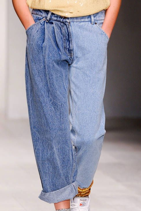 loose fit pleat front 80s 90s vibe light blue mid blue odd leg combo jeans mismatch Ashish Spring 2013