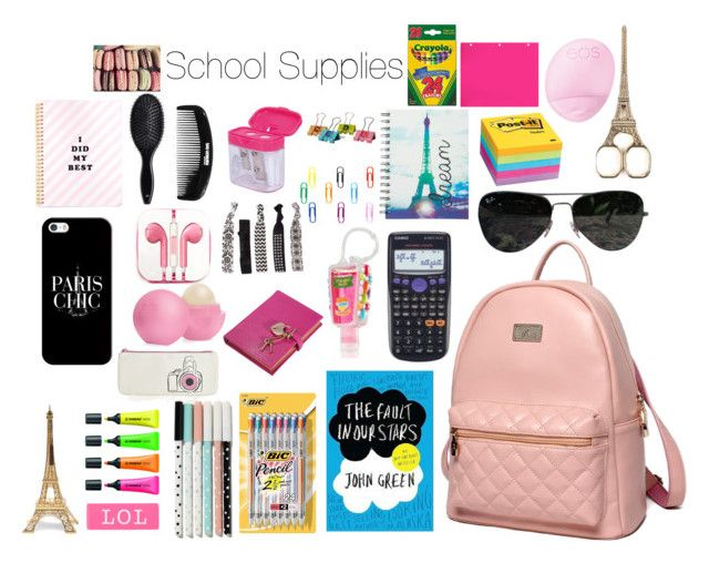 """Paris Themed School Supplies"" by mermaidgirl1616 ❤ liked on Polyvore featuring interior, interiors, interior design, home, home decor, interior decorating, Post-It, BIC, Graphic Image and PhunkeeTree"