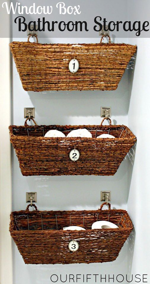 Window boxes on wall for bathroom storage. Over toilet in boys bathroom? Extra storage in downstairs bathroom?