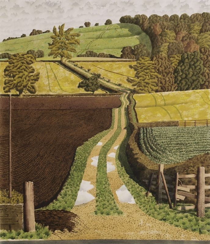 """Bridleway at Burton"" by Simon Palmer (watercolour, ink and gouache)"