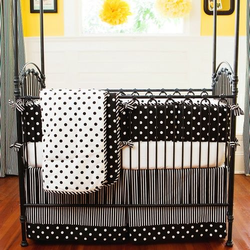 Boy Penguin Crib Bedding | Black and White Dots and Stripes Crib Bedding Collection by Carousel ...