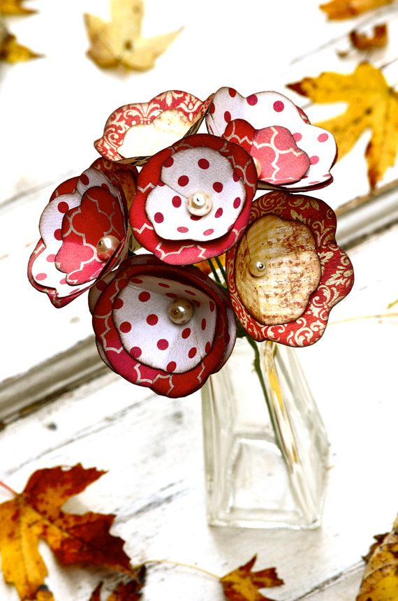 Paper flowers, small bouquet, floral arrangement, red, cream, white, pearls, polkadots, distressed