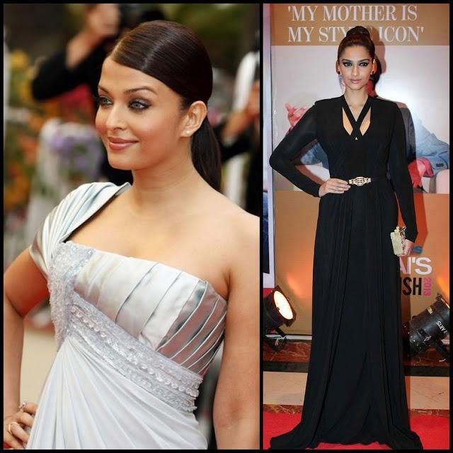Sleek and simple:Sonam Kapoor's sleek knot and Aishwarya Rai's sleek ponytail both add a simple elegance to their ensembles.