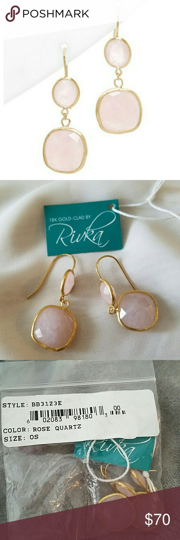 """Rivka Friedman 18K clad Rose Quartz Earrings Rivka Friedman Designed By Rivka Friedman Drop Earrings 18-Karat Yellow Gold Clad Faceted Oval And Pillow-Cut Rose Quartz Gemstones Measure 10-15mm Approximate 1.5in Drop Shepard's Hook Backs """"""""It Is Customary To Treat Most Gemstones To Achieve Enhanced Color And Durability. Some Of These Treatments May Not Be Permanent, And May Require Special Care""""""""""""1 Imported Rivka Friedman Jewelry Earrings"""