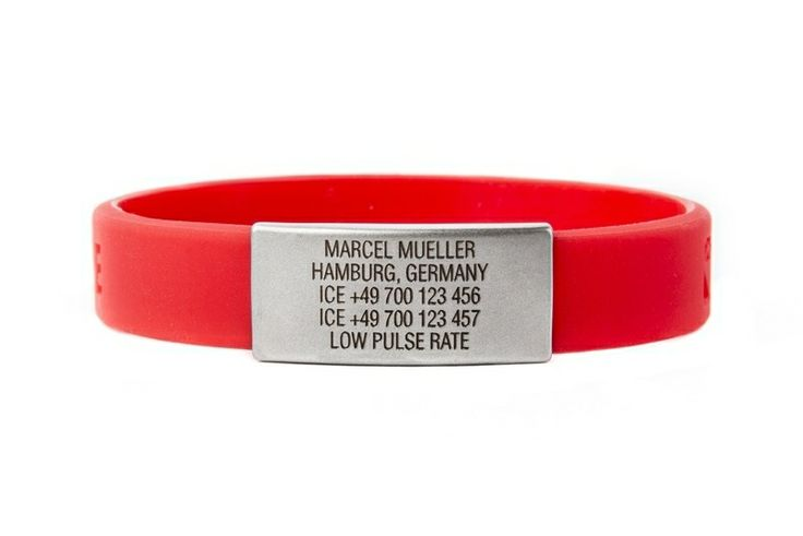 ICEstripe slim wristband with your own data, motto, contact details, engraved on stainless steel tag