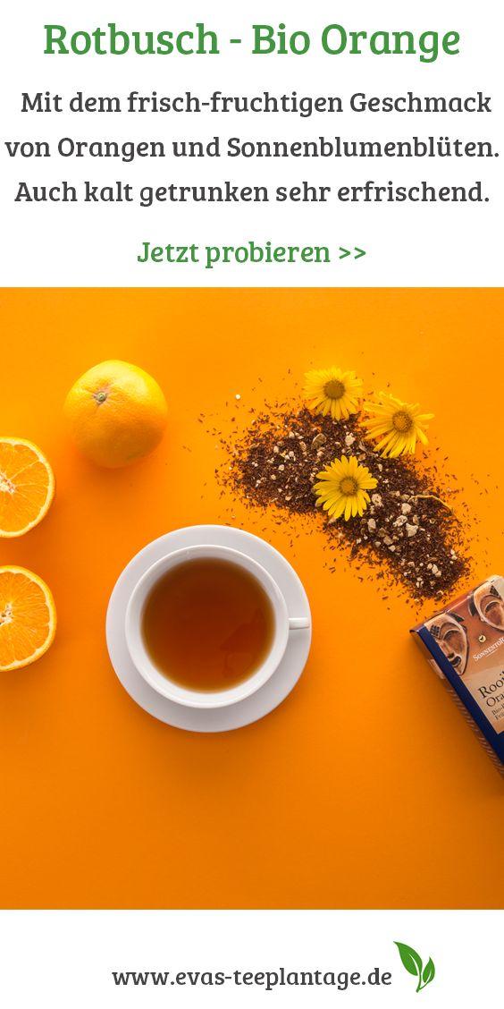 Köstlicher Rotbuschtee mit dem frisch-fruchtigen Geschmack von Orangen. Wird von Groß und Klein gerne genossen und ist auch kalt getrunken sehr erfrischend. Abgerundet mit Sonnenblumenblüten. Tipp: An einem heißen Sommertag empfiehlt es sich, Rooibos-Tee eisgekühlt zu trinken. Der Kreativität sind dabei keine Grenzen gesetzt: Apfelsaft, Traubensaft, Ananassaft und Kokosmilch mit dem Tee gemischt, ergeben feine Cocktails. Zitronen- und Orangenscheiben, Erdbeeren- und Pfirsichstücke verfeinern…