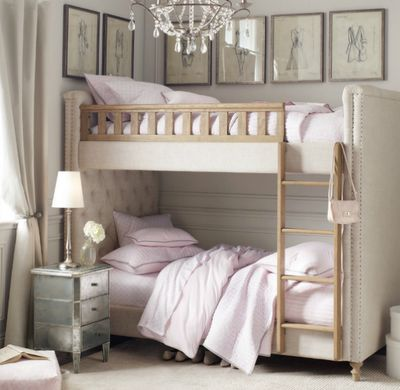 Beautiful upholstered bunk bed.
